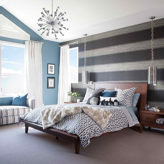 Thay đổi phong cách mới lạ với sơn phòng ngủ kẻ sọc