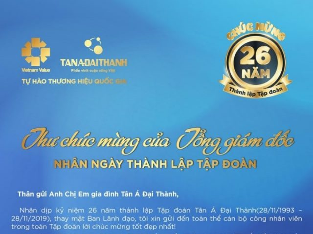 Thư chúc mừng 26 năm ngày thành lập Tập đoàn Tân Á Đại Thành
