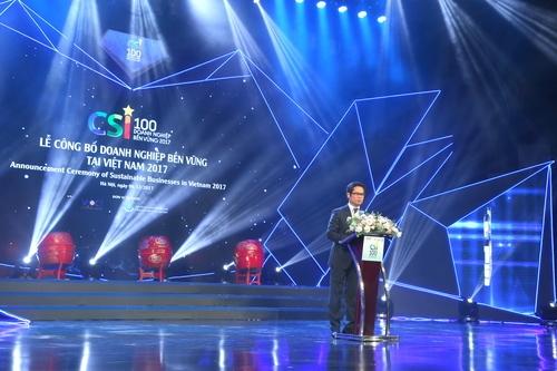 Ông Vũ Tiến Lộc - Chủ tịch Phòng Thương mại và Công nghiệp Việt Nam phát biểu tại buổi lễ.