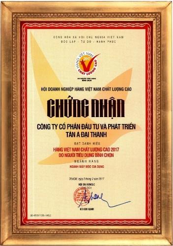 Tân Á Đại Thành đạt danh hiệu Hàng Việt Nam Chất lượng cao 2017