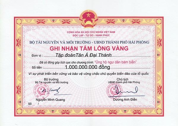 Tân Á Đại Thành đóng góp hỗ trợ ngư dân bám biển