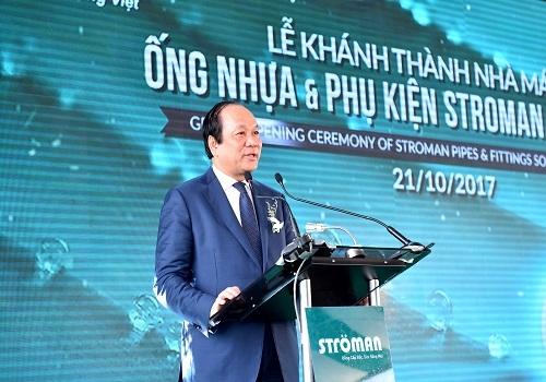 Bộ trưởng, Chủ nhiệm Văn phòng Chính phủ Mai Tiến Dũng phát biểu tại buổi lễ khánh thành Nhà máy Ống nhựa và Phụ kiện Ströman Long An