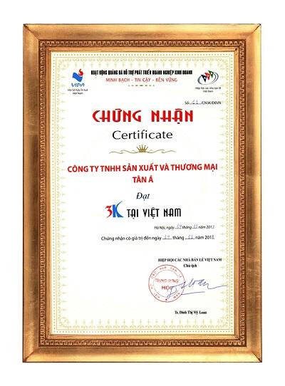 Chứng nhận 3K được trao cho Tập đoàn Tân Á Đại Thành.