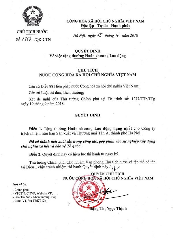 Tập đoàn Tân Á Đại Thành vui mừng đón nhận Huân chương Lao động hạng Nhất của Quyền Chủ tịch nước