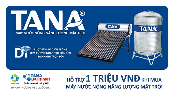 Tân Á Đại Thành tiếp tục hỗ trợ người tiêu dùng 1 triệu đồng khi mua máy nước nóng năng lượng mặt trời