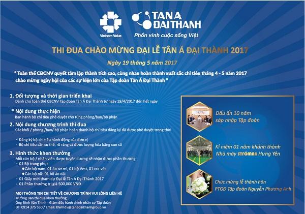 CBNV Tập đoàn Tân Á Đại Thành thi đua lập thành tích chào mừng Đại lễ lớn nhất trong năm 2017