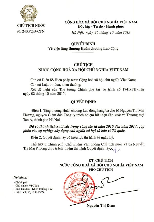 Chủ tịch HĐQT Tập đoàn Tân Á Đại Thành vinh dự đón nhận Huân chương Lao động hạng 3 2