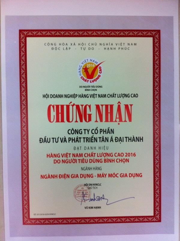 Tân Á Đại Thành vinh dự 15 năm liên tiếp đạt chứng nhận Hàng Việt Nam chất lượng cao