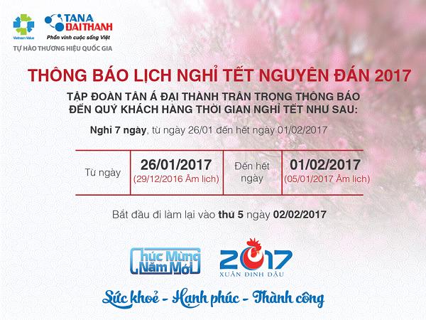 Thông báo - Lịch nghỉ tết Nguyên đán Đinh Dậu 2017