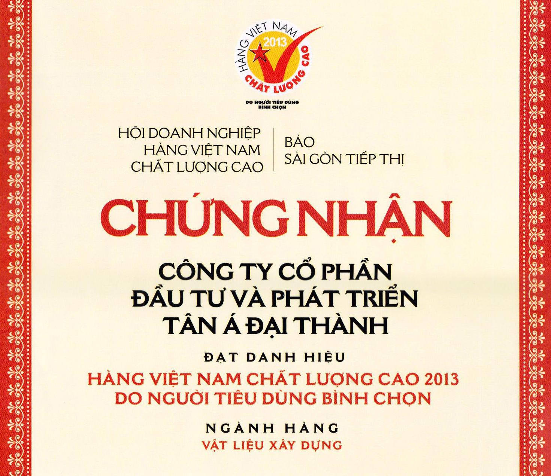 Tân Á Đại Thành tiếp tục đạt danh hiệu Hàng Việt Nam chất lượng cao 2013